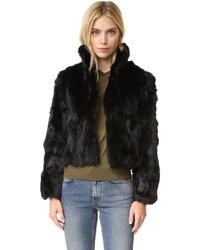 Adrienne Landau Textured Rabbit Jacket