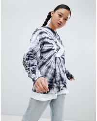 Converse Sweatshirt In Black Tie Dye