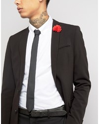 Asos Black Tie With Red Flower Lapel Pin Pack