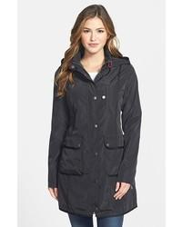 DKNY Grosgrain Trim Hooded Raincoat