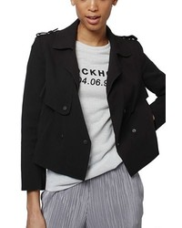 Topshop Raw Edge Crop Trench Jacket