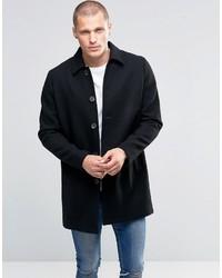 Asos Wool Mix Trench Coat In Black