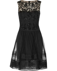 Notte by Marchesa Lace Trimmed Embellished Tulle Dress