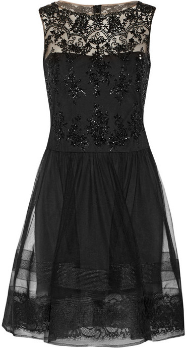 Notte by Marchesa Notte by Marchesa Lace-trimmed embellished tulle dress