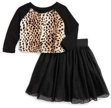 Toddler Girls Pippa Julie Faux Fur Sweater Tulle Skirt Set