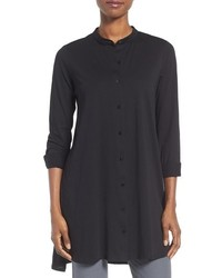 Eileen Fisher Cotton Jersey Mandarin Collar Tunic