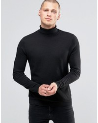 Asos Cotton Roll Neck Sweater In Black
