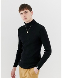 Collusion Muscle Fit Ribbed Roll Neck Jumper