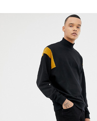 ASOS DESIGN Tall Sweatshirt With Turtle Neck And Colour Blocking In Black