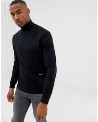 Calvin Klein Y Roll Neck Long Sleeve Top In Black