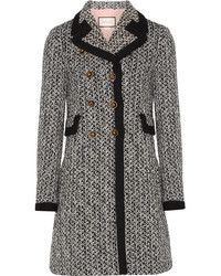 Gucci Double Breasted Tweed Coat Black