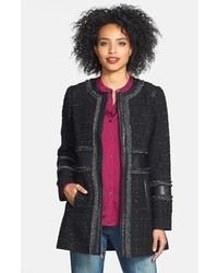 Laundry by Shelli Segal Faux Leather Metallic Trim Tweed Coat