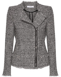 IRO Leather Trimmed Frayed Cotton Blend Tweed Jacket Black