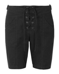 Saint Laurent Lace Up Cotton And Ramie Blend Twill Shorts