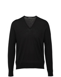 Prada Knitted V Neck Sweater