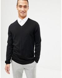 ASOS DESIGN Merino Wool V Neck Jumper In Black