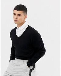 ASOS DESIGN V Neck Cotton Jumper In Black