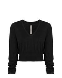 Rick Owens V Neck Cropped Sweater