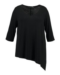 Dorothy Perkins Neck Asymmetric Hem Basic T Shirt Black