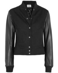 OAK Layered Wool Twill And Leather Varsity Jacket