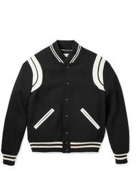 Leather trimmed wool blend bomber jacket medium 579217