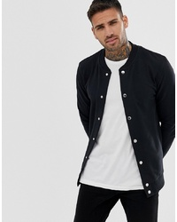 ASOS DESIGN Muscle Jersey Bomber Jacket In Black