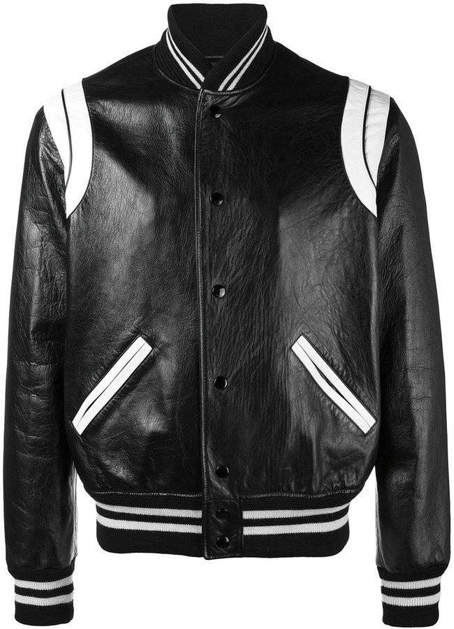 70c7076ad £3,954, Saint Laurent Stripe Leather Varsity Jacket