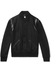 Saint Laurent Teddy Leather Trimmed Wool Bomber Jacket