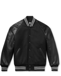 Golden Bear The Ralston Wool Blend And Leather Bomber Jacket
