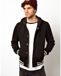 Asos Varsity Jacket With Hood