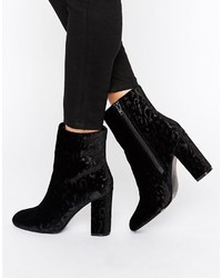 Faith Baro Velvet Heeled Ankle Boots