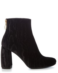 Stella McCartney Ribbon Curved Heel Velvet Devor Ankle Boots