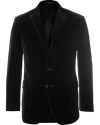 Polo Ralph Lauren Black Slim Fit Cotton Velvet Blazer