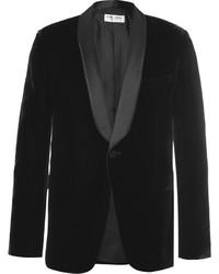 Saint Laurent Black Slim Fit Satin Trimmed Velvet Tuxedo Jacket