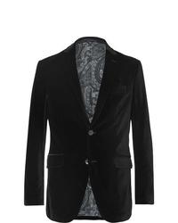 Etro Black Slim Fit Stretch Cotton Velvet Blazer