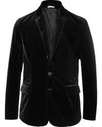 Tomas Maier Black Slim Fit Unstructured Stretch Cotton Velvet Blazer