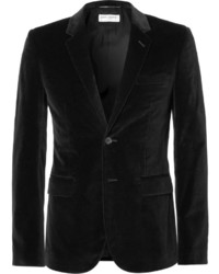 Saint Laurent Black Slim Fit Velvet Blazer