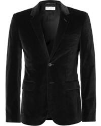 Saint Laurent Black Slim Fit Velvet Blazer