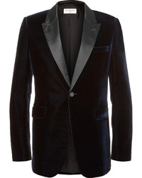 Saint Laurent Blue Satin Trimmed Velvet Tuxedo Jacket