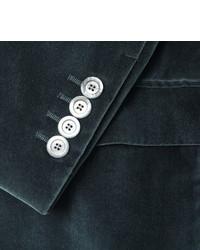 Gucci Blue Slim Fit Cotton Velvet Blazer