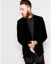 Asos Brand Skinny Blazer In Velvet