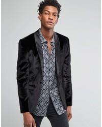 Asos Brand Skinny Velvet Blazer In Black
