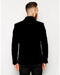 Asos Brand Slim Fit Blazer In Velvet