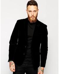 Asos Brand Slim Fit Blazer In Velvet