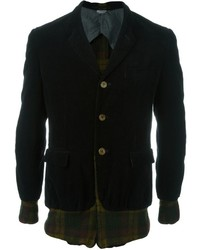 Comme Des Garons Vintage Tartan Panelled Velvet Blazer