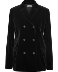 Double breasted velvet blazer black medium 819356
