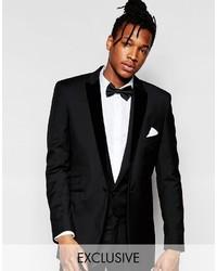 Hart Hollywood By Nick Hart 100% Wool Suit Jacket With Velvet Peak Lapel In Slim Fit