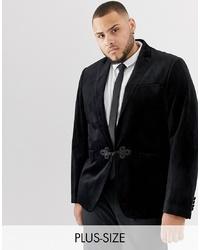 Gianni Feraud Plus Premium Skinny Fit Velvet Blazer