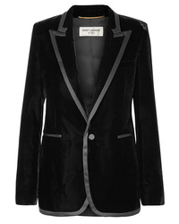 Saint Laurent Satin Trimmed Velvet Blazer