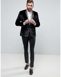 Asos Skinny Blazer In Black Velvet